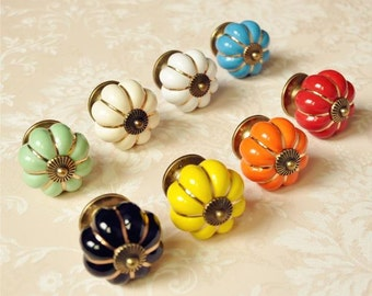 Pumpkin ceramic Knobs / Dresser Knob Drawer / Ceramic Knob / Cabinet Knobs / Kitchen Door Knob Furniture Hardware Antique Bronze