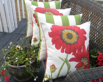 "SET OF 4 20"" Indoor / Outdoor Throw Pillows - 2 Red, Green Poppy Flower Floral Fabric & 2 Green and White Stripe Decorative Pillows"