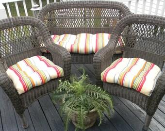 Indoor Outdoor Wicker Cushion 3 Pc Set Orange Yellow