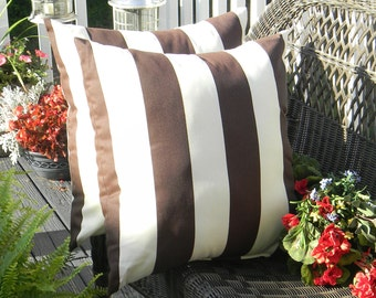 "Set of 2 Pillow Covers ~ 17"" Brown and Ivory Stripe Decorative Square Pillow Covers ~ Indoor Outdoor Fabric"