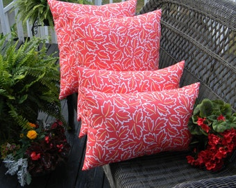 SET OF 4 -  Indoor / Outdoor Throw Pillows & Rectangle / Lumbar Pillows - Coral and Yellow Leaf Pattern