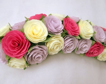 Paper Flower Garland/Paper Flowers/Wedding Arch Garland/Table Flower Garland/Shabby Chic Flower Garland/Rose Garland