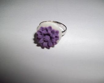 Purple Flower Button Ring