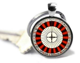 Roulette wheel keychain groomsman gift Las Vegas party favors gambling vintage keyring casino key chain.