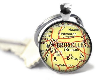 Brussels map key ring vintage map keychain Belgium atlas charm travel gift.