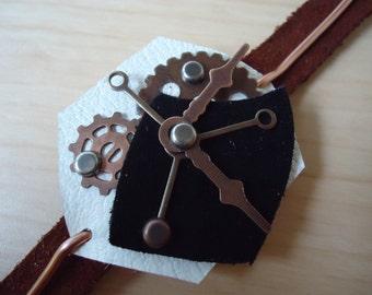 The Bureaucrat Steampunk Wrist Watch, Leather Wrist Watch, Mechanical Wrist Watch