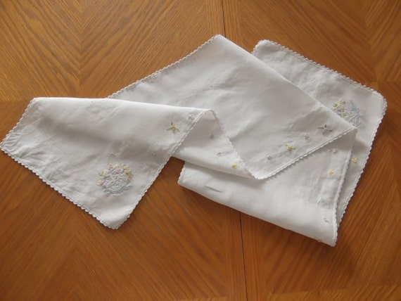 Vintage embroidered white dresser scarf or by