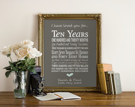 10th Wedding Anniversary Gift For Him: 10th Anniversary Gift Personalised By PinkMilkshakeDesigns
