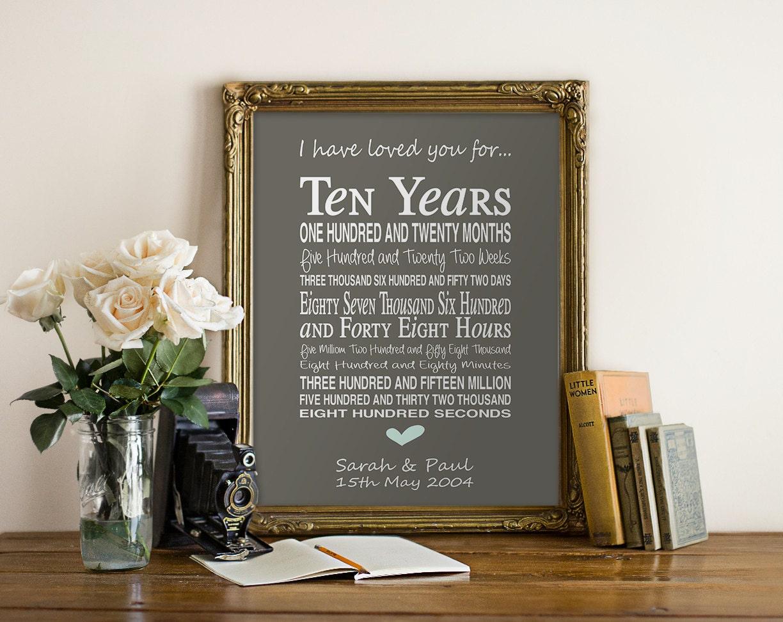 10th Anniversary Wedding Gifts: 10th Anniversary Gift Personalised By PinkMilkshakeDesigns