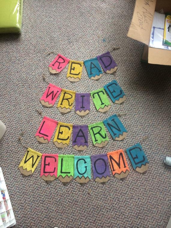 Classroom Decor Pencil Banner ~ Classroom decor burlap pencil banner write by southernsurseys
