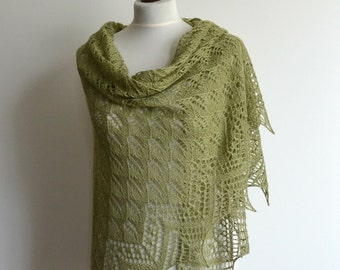 Green hand knitted lace shawl silk merino triangular wrap handmade