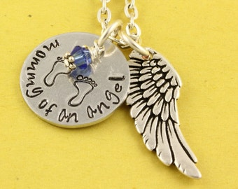 Mommy of an Angel Necklace - Baby Feet Necklace - Miscarriage Gift - Angel Baby Necklace - Birthstone Necklace - Silver Memorial Necklace