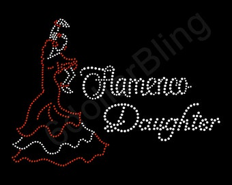"Rhinestone Iron On Transfer ""Flamenco Daughter"" Spanish Dance Dancing Crystal Bling Design"