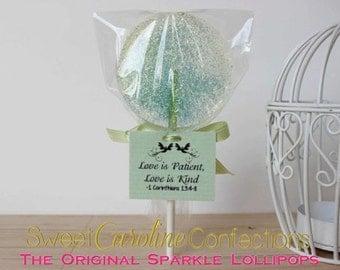 Mint Green Wedding Favor Lollipops, Wedding Favors, Green Favors, Mint Lollipops, Candy, Baby Shower Favors, Gift Idea--Set of Six