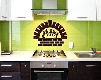 Bread Brick Oven Removable Wall Art Decor Decal Vinyl Sticker Mural Food Kitchen
