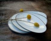 Set Of Three White Tapas Plates, Serving Plates,  Oval Ceramic Plates  ,Pottery Plates, Ceramics and Pottery