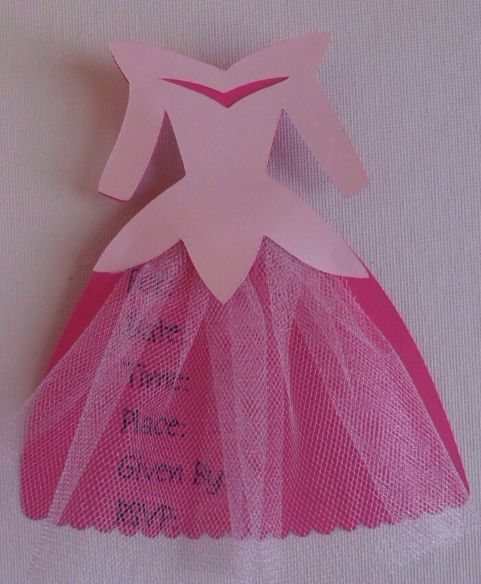 Princess dress invitation for birthday party or baby shower
