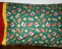 Pillowcase, Christmas Toys Tossed, Red Band, Yellow Accent,  Standard Size, 20 x 30, Premium Quality, 100 percent cotton