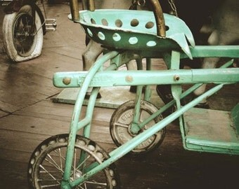 Teal Tricycle Photograph - Antique Tricycle - Vintage Metal Tricycle - Early 1900 - Wall Decor - Memory - Fine Art - Kid's Room Decor