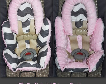 Pink Minky with Gray Chevron Reversible Car Seat Inserts