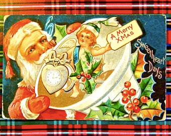 Vintage Santa Claus Christmas Post Card Early 1910's HTF, Embossed