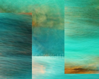 Fantasy Oceans Collage - Fine Art Photography Print - 8x8 8x10 8x12 - Photography blue turquoise green abstract art