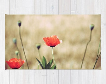 Rug  - Vintage Summer - art photography photo poppy flower floral nature red beige green blossom