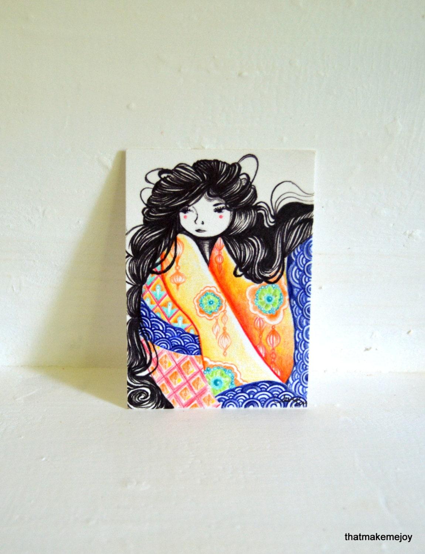 jeune fille japonaise geisha asiatique atc aceo original noir. Black Bedroom Furniture Sets. Home Design Ideas