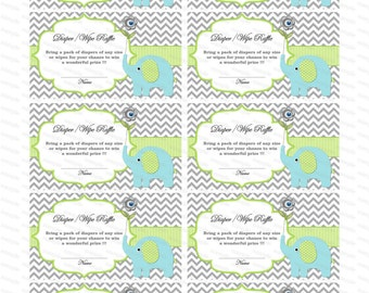 Elephant Baby Shower invitation Diaper Raffle insert Baby Shower Games baby shower diaper raffle ticket (90b-1)