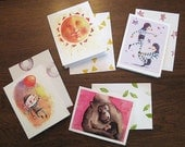 Set of Four Whimsical Greeting Cards!  With hand stamped envelopes. Choose any combination of your liking.