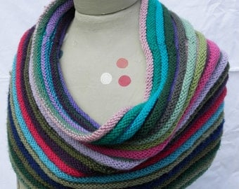 Wool-Mix Shawl - HAND KNIT - Poncho / Cowl