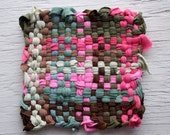 Pink and Brown Pot Holder