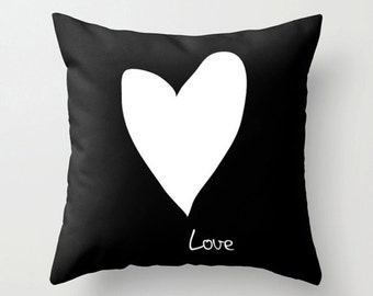 Love throw pillow - Black and white cushion - Valentine's gift
