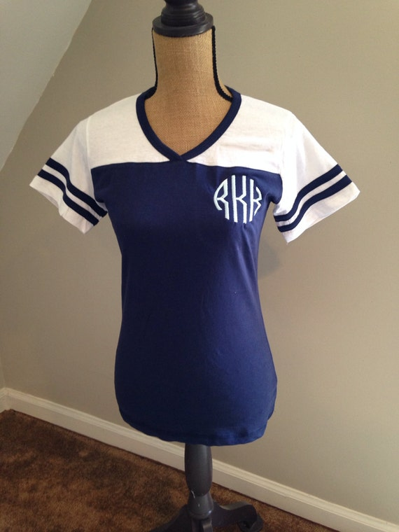 Monogrammed Women's Football Tee Personalized Monogrammed T-shirts Powder Puff