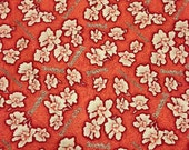 SALE - Red floral fabric / Red Singapore Orchid fabric (1 yard)