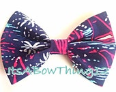 Lilly Pulitzer Bright Navy Sparks Fly Preppy Printed Bow