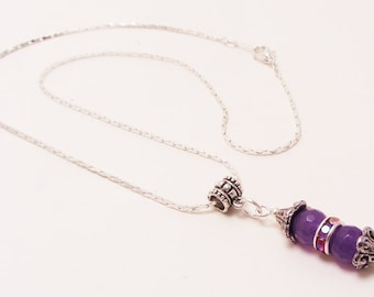 Amethyst Gemstone Necklace, Chic and Petite, Rhinestones
