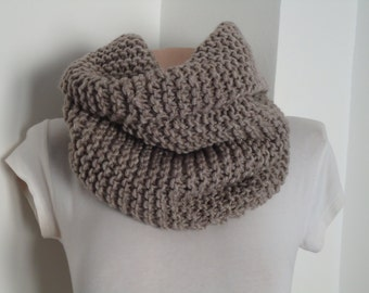 Valentine day sale Taupe knite scarf / Knit scarf / knitted scarf/taupe scarf/  knit snood / taupe knit scarf /cowl/ chunky knit cowl scarf