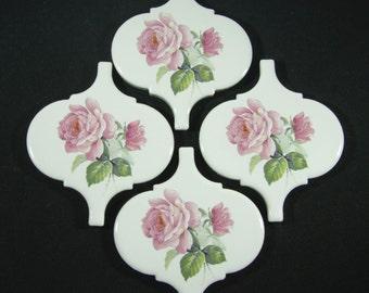 Ceramic Tiles Set of 4 - Pink Roses - Mosaic Focal Tile