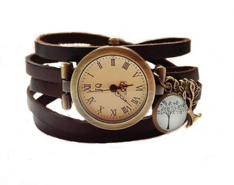 "Wrap Watch, Bracelet Watch, Wrist Watch, Vintage Watch  ""Tree II""  Bracelet: dark brown"