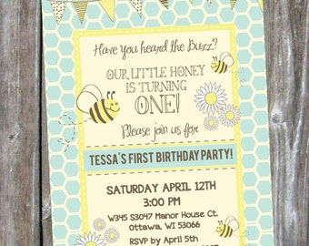 Bumble Bee First Birthday Party Invite - Digital Download
