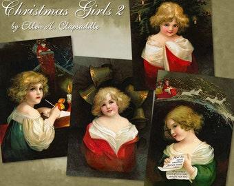 Charming Christmas Girls 2 by Ellen Clapsaddle - Digital Download