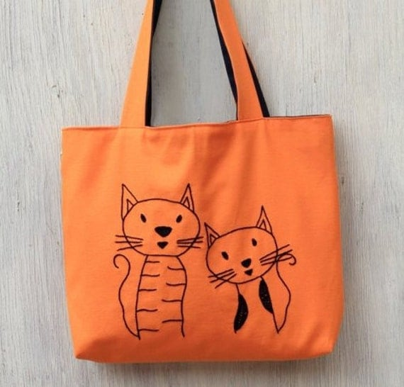 orange bag tote bag frend cats embroidery by NIARMENA on Etsy