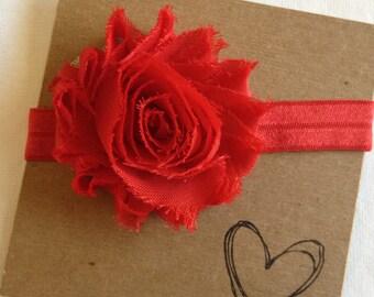 Red Shabby Flower Headband, Flower Headband, Baby Headband, Newborn Headband, Red Flower