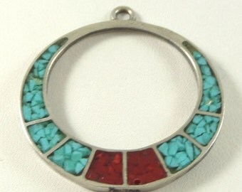 Vtg Sterling Silver Turquoise & Coral Pendant / Free Ship USA