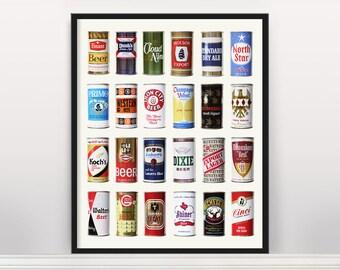 Beer Poster - Vintage Beer Can Poster - Beer Art