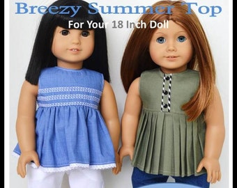 Pixie Faire Jen Ashley Doll Designs Breezy Summer Top Doll Clothes Pattern for 18 inch American Girl Dolls - PDF