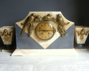 Romantic Art Deco French Marble Clock and Garnitures,Birds Decor.