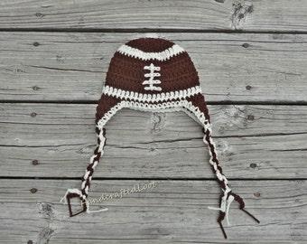 Newborn Crochet Baby Football Earflap Hat Beanie Outfit Photo Prop Great Shower Gift 0-3,3-6 Months