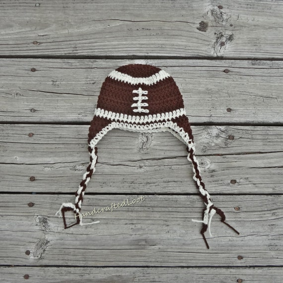 Soft Shells Baby Earflap Hat Crochet Pattern : Newborn Crochet Baby Football Earflap Hat Beanie Outfit Photo